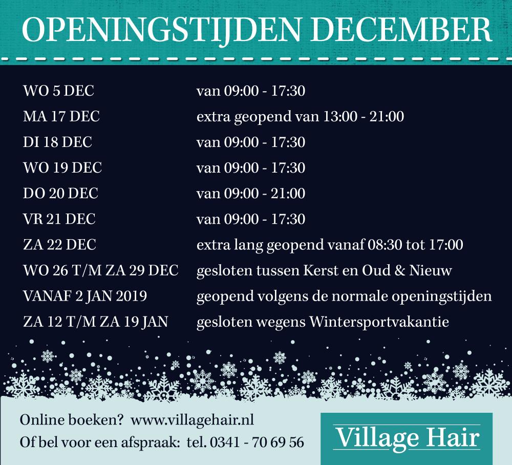 Openingstijden in December